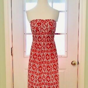 J Crew Red Tribal Print Dress
